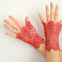 red sequined glove,  viktoria-style gloves, valentine day,  gloves, fingerless gloves, Romantic lace gloves,2013