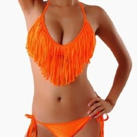 Cloris Murphy Sexy Fringed Tassel Orange Triangle Bikini Halter Top &amp; Bottom Swimwear Bathing Suit BN912OR M &amp; L size Orange