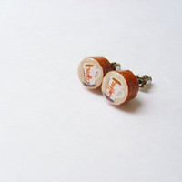 Coffee Jewelry - Ceramic Cup Java Earring Studs  - Natural Wooden Stud Earrings