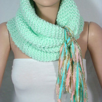 NEW - Hand Knitted Hooded Cowl/Scarf/Neck Warmer (Light Mint Green) by Arzu's Style