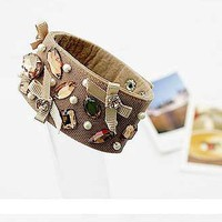Fashion Cheap Bow Cloth& Diamond Cuff Bracelet at online fashion jewelry store Gofavor