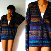Vtg Dark Pattern Cosby Button Down Grandpa Sweater
