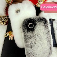 Chic Elegant Synthetic High Grade Rabbit Fur iPhone 5 Case Cover