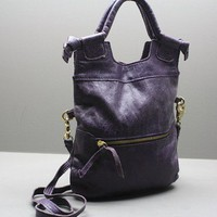 Authentic Foley and Corinna Purple Leather Cross Body Clutch Handbag.