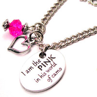 I am the Pink in his world of Camo  Necklace by CorsoStudio