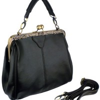 DANYA Black Vintage Clasp Frame Closure Top Handle Purse Satchel Handbag w/Detachable Shoulder Chai