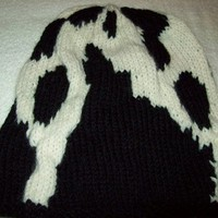 Black Off White Print OOAK Knit Big Slouch Hat Oversized Big Hat
