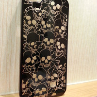 BLACK Chrome SKULL Head Crystal Clear Transparent Hard Back Case Cover For iPhone 5 iPhone 5, Smartphone iPhone Case, Skeleton Head  Cover