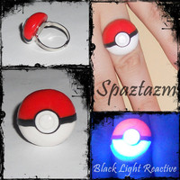 Pokeball Ring Black light reactive one of a kind fully by spaztazm