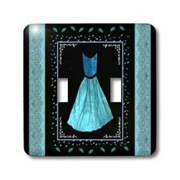 Jaclinart Dress Roses Flowers Nature Damask Ribbons - Turquoise blue design with dress and leaves and damask ribbons on black background - Light Switch Covers - double toggle switch - Amazon.com