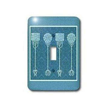 Jaclinart Fantasy Vintage Nouveau Trees Nature Damask - Blue trees on Caribbean blue damask background - Light Switch Covers - single toggle switch - Amazon.com
