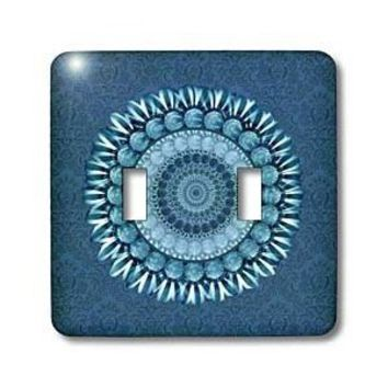 Amazon.com: Jaclinart Fantasy Flower Floral Mandala Striped Daisy - Cerulean blue floral mandala on rich blue damask background - Light Switch Covers - double toggle switch: Home Improvement
