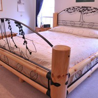 Lodge bed log and metal by HaydieMcRae on Etsy