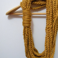 Crocheted Infinity Scarf Necklace in Mustard Yellow