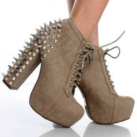 Spike Studded Platform High Heels Goth Steam Punk Rock Shoes Lace Up Ankle Boots