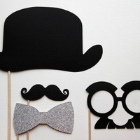 Derby Bowler Hat  Glittered Bow Tie Mustache and by LittleRetreats