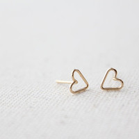 Tiny Open Heart Earring Studs - Hand Formed - Gold or Silver - Lorelai