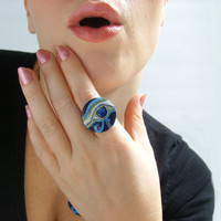 Egyptian Eye of Horus Ring - Cobalt Blue - Adjustable