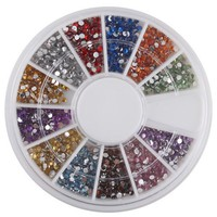 1.5mm 1800 Nail Art Rhinestone Glitter Tip Mix Gems BuyinCoins