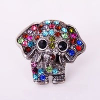 Lovely Full Rhinestone Studded Elephant Animal Ring at Online Cheap Fashion Jewelry Store Gofavor
