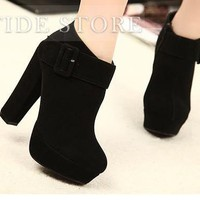 Fashion Black Platform Chunky Heels Closed Toe Ankle Women's Boots: tidestore.com