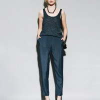 Dark teal tapered leg trousers [Som3523] - $154 : Pixie Market, Fashion-Super-Market