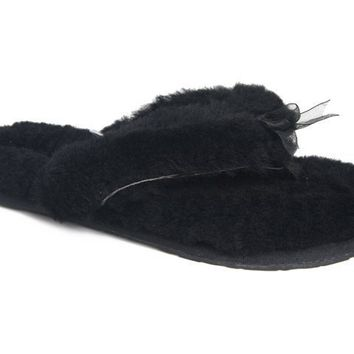 UGG Fluff Flip Flops Slippers 5304 Black Outlet UK