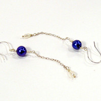 Midnight Blue Pearl Long Dangle Earrings with White Pearls and Sterling Silver