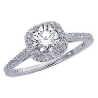 1.06 Carat Gorgeous Classic Cushion Halo Style Diamond Engagement Ring with a 0.71 Carat Round Cut I Color VS2 Clarity Center Stone and 0.35 Carats of Side Diamonds: Jewelry: Amazon.com