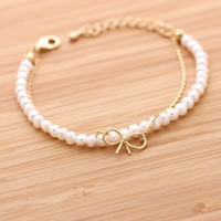 RIBBON with fresh water pearls bracelet, 2 colors | girlsluv.it