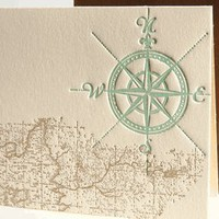 nautical map letterpress boxed note cards, invitations