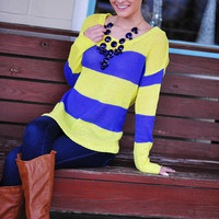 Keep Me Warm Sweater: Periwinkle/Neon Yellow | Hope's