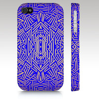Fashion tribal iPhone case, iPhone 4s case, iPhone 5 case, tribal aztec ethnic pattern design, royal blue gold, art for your phone