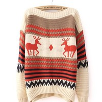 *Free Shipping* Beige Deer Print Loose Pullover Sweater TBHTK1207be from clothingloves
