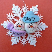 Personalized Snowflake Clay Couple Christmas Ornament by Sabrinaps