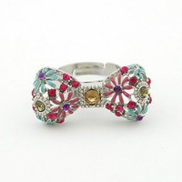 *Free Shipping* Blue Sweet Bow Daisy Opening Ring 10112936 from MaxNina