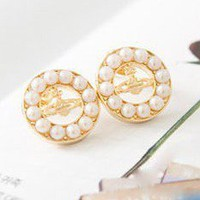 Elegant Silver Tone Saturn Pearl Stud Earrings at Online Cheap Fashion Jewelry Store Gofavor
