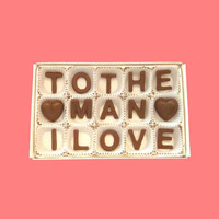 To The Man I Love Milk Chocolate Letters-Anniversary Valentines Day Gift for Husband Boyfriend Him-Made to Order