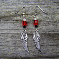 red wings  silver charm &amp; bead earrings by MamasNestDesigns