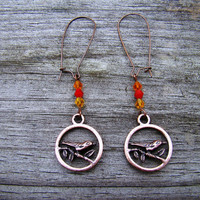 earthy bird  copper &amp; bead earrings by MamasNestDesigns on Etsy