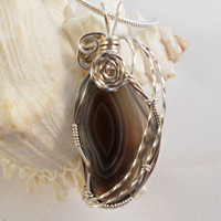 Wire Wrapped Pendant Botswana Agate, Handmade Jewelry