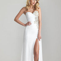 White Chiffon Crystal Embellished Sweetheart Prom Dress - Unique Vintage - Cocktail, Pinup, Holiday & Prom Dresses.