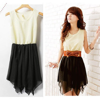 Korean Sweet Women Summer Fashion Irregular Skirts Chiffon Mini Dress Top Casual
