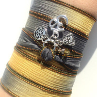 Om Silk Wrap Bracelet Buddha Zen Yoga Jewely Meditation Namaste Earthy Unique Gift For Her Stocking Stuffer Under 50 Item J75