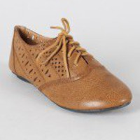 Danika-05 Perforated Lace Up Oxford Flat