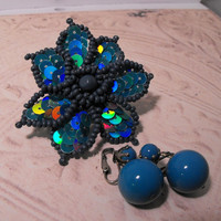 Bright Teal Ball Earrings w Wood Sequined by GiltyGirlVintage
