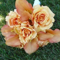 Weddings, Bridal Bouquet, Orange Rose Bouquet, Wedding Bouquet, For the Bride,  Wedding Flowers