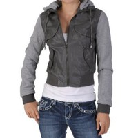 Amazon.com: Miss Posh by Journee Juniors PU Leather Knit-sleeve Varsity Jacket: Clothing