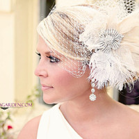 Wedding Veil Bridal Veil and Feather by FascinatingCreations
