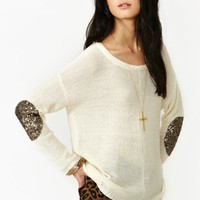 Sequin Patch Knit - Ivory